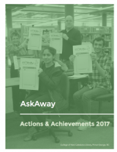Image of the cover of the AskAway Actions & Achievements 2017 Report: A photo of four people holding up AskAway signs.