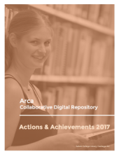 Image of the cover of the Arca Actions & Achievements 2017 Report: A photo of a woman standing in front of shelves of books in the library.