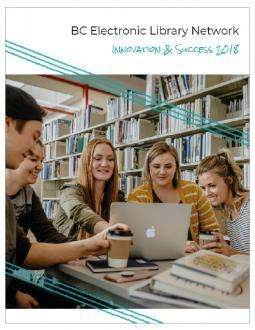 Image of the cover of the Innovation & Success 2018 Report: A photo of five students looking at a laptop in the library.