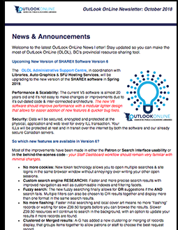 Image of the OutLook OnLine October 2018 Newsletter
