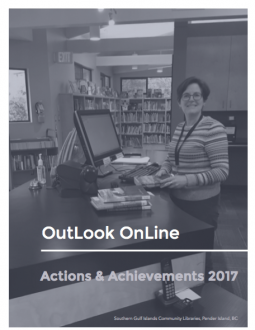Image of the cover of the OutLook Online Actions & Achievements 2017 Report: A photo of a library assistant standing at the checkout desk.