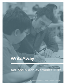 Image of the cover of the WriteAway Actions & Achievements 2017 Report: A photo of a tutor and student looking at a paper.