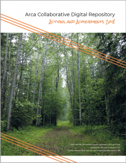 Image of the cover of the Arca Actions & Achievements 2018 Report: A photo of a path winding through the forest.