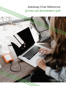 Image of the cover of the AskAway Actions & Achievements 2018 Report: A photo of a woman working on her laptop.
