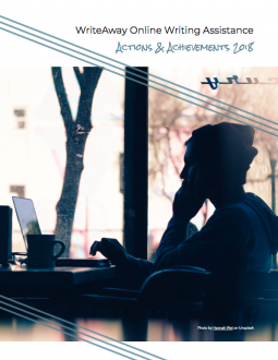 Image of the cover of the WriteAway Actions & Achievements 2018 Report: A photo of a man working on his laptop with a mug beside him.