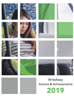 Image of the cover of the WriteAway Actions & Achievements 2019 Report: A photo of a woman looking at her laptop.