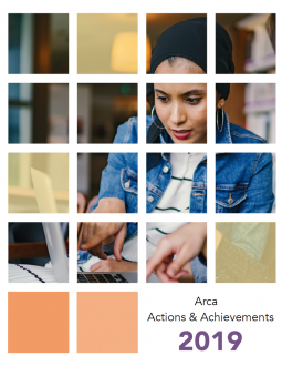 Cover of Arca Actions & Achievements 2019 report; image shows a women pointing at and looking at her laptop screen.