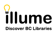 Illume word with lightbulb as the dot on the i. Below is the tagline Discover BC Libraries.